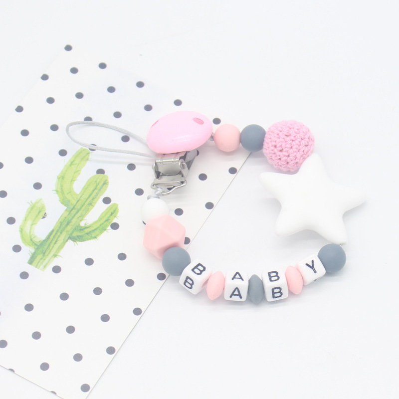 DIY Personalised Name Silicone Baby Pacifier Clips Chain Nipple Pacifier Chain With Holder For Baby Feeding Teether Shower Gift