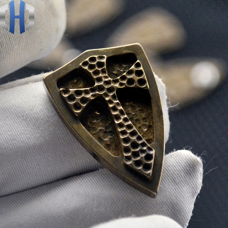 Shield Steel Fire Crusader Shield Brass Inlay Back Clip EDC Tool Accessories DIY Cutter Knife Tools