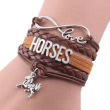 (10pcs/Lot) Infinity Love lucky HORSES any pet name color charms custom made leather bracelet wrap bracelets & bangles