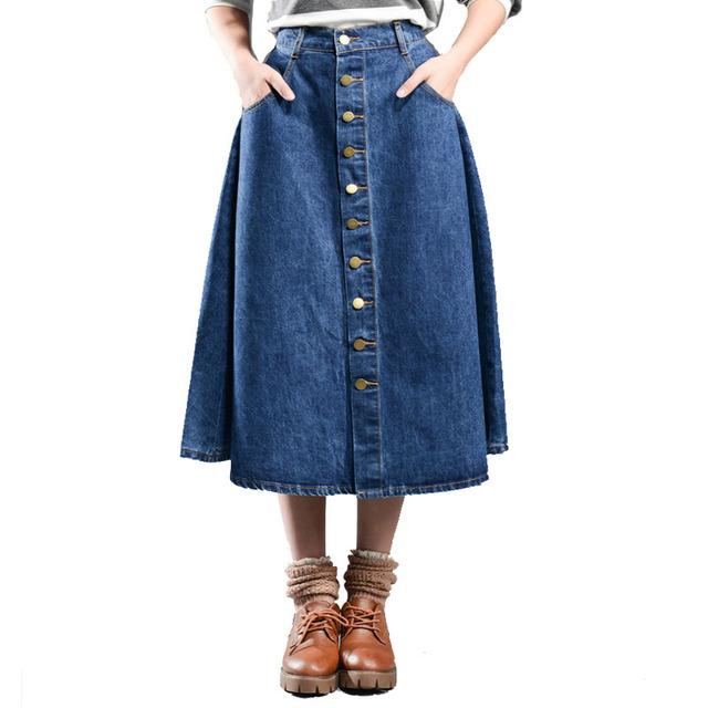 5XL 6XL 7XL 8XL Mulheres Saias longas Do Vintage Novo 2016 Único breasted Saia Jeans Plus Size calça jeans de Cintura Alta Mulher Saia Ocasional