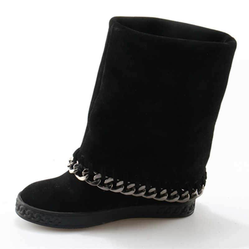 Botines mujer süet deri platform ayakkabılar metal dekorasyon yarım çizmeler yüksekliği artan zincir takozlar kar botları kadın botas