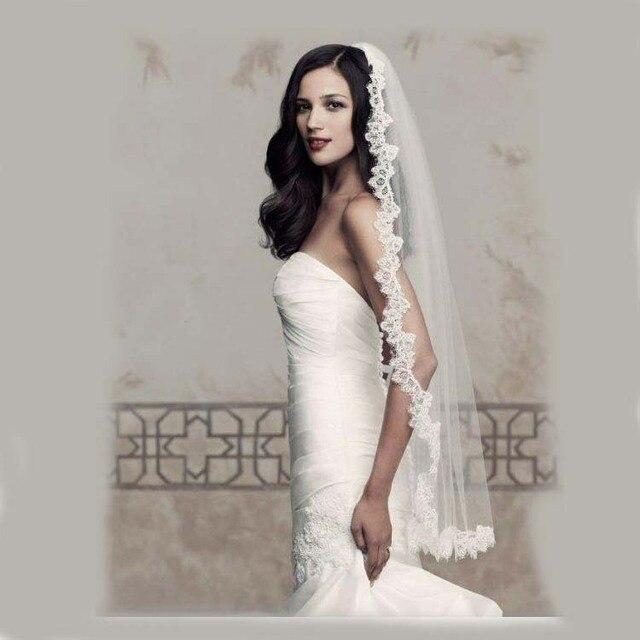 Honey Qiao Real Photos Wedding Veil 2016 Long Lace Mantilla Bridal Veil Wedding Accessories velos de novia