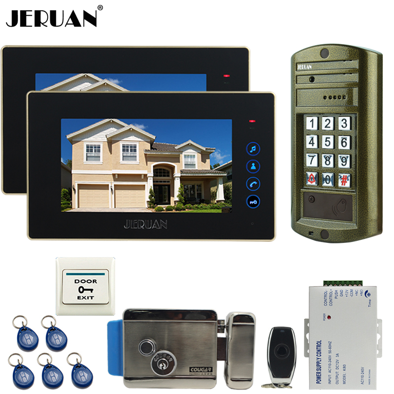JERUAN 7 inch Video Intercom DoorPhone System kit 2 Monitor + Metal Waterproof Access Password keypad HD Mini Camera + E-lock jeruan wired 8 video doorphone record intercom system kit 2 monitor new rfid waterproof touch key password keypad camera 8g sd