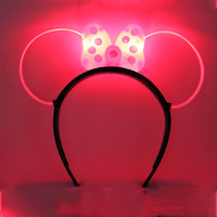 Adult Children Fun LED Flashing Cool Light Polka Dot Minnie Mickey Bow Party Headbands Woman Headband