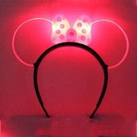 Adult Children Fun LED Flashing Cool Light Polka Dot Minnie Mickey Bow Party Headbands Woman Headband