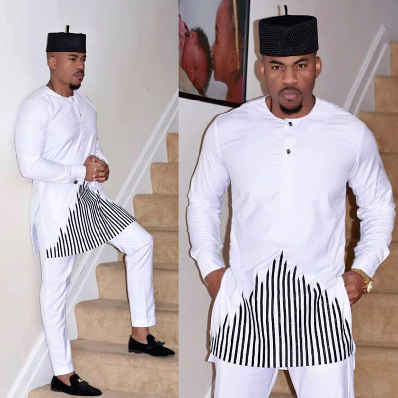 H&D 2019 African Dashiki Clothes For Men No Cap Shirt Pants Set Embroidery Tops Trouser Suit Men's Traditional African Clothing