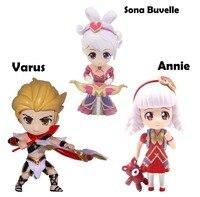 Envío Libre Lindo 3 unids Anime Juego Sona Buvelle Annie Varo del Día de San Valentín En Caja 10 cm PVC Figura de Acción colección de Muñecas Modelo