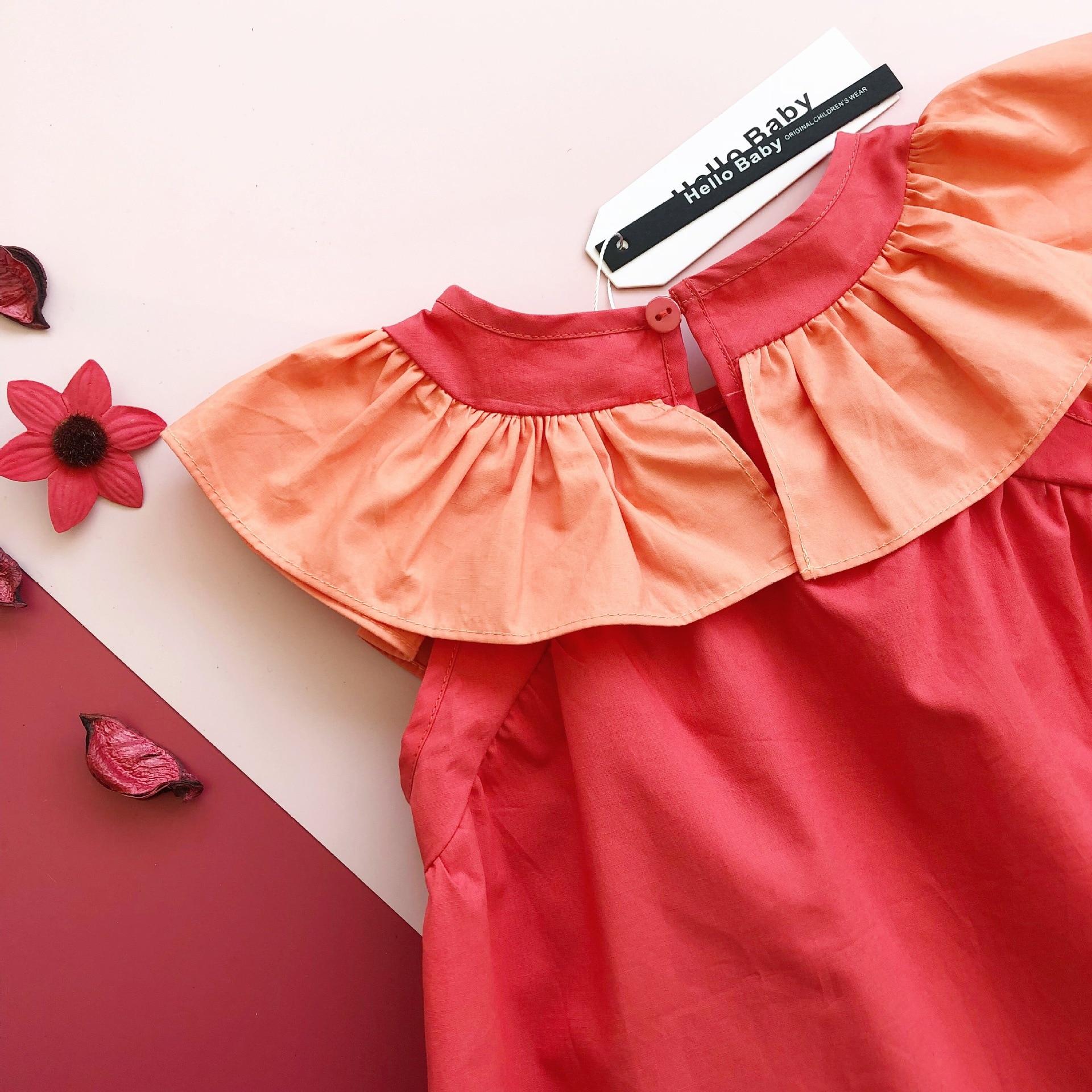 Girl Dress Toddler Baby Girl Cute Orange Ruffles Summer Clothings