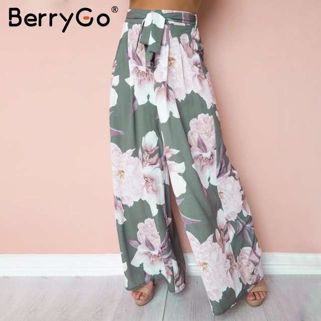 5ee906a424 BerryGo Sash loose print wide leg pants women Elastic floral boho casual  pants female 2018 Summer