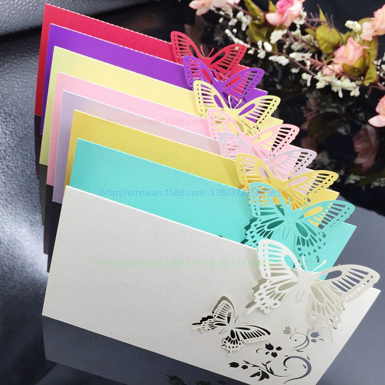Wedding Supplies 100pcs/pack Pierced Laser Cut Butterfly Wedding Party  Table Name Place Cards Wedding