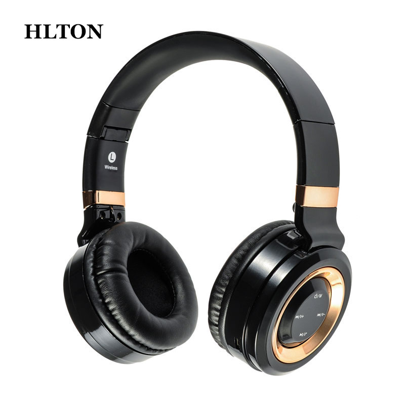 HLTON Foldable Bluetooth Headphone Wireless Earphone Stereo Bass Headset Earbuds Support TF Card With Mic For iPhone Xiaomi PC hlton portable 2 in 1 universal wireless bluetooth stereo headphone with mic support tf card headset for smartphone computer