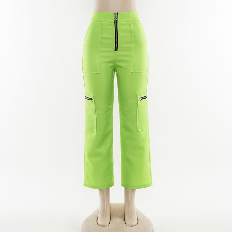 ZADORIN 2019 Summer New Neon Green Wide Leg Cargo Pants Women High Waist Streetwear Baggy Pants Women Sweatpants pantalon mujer