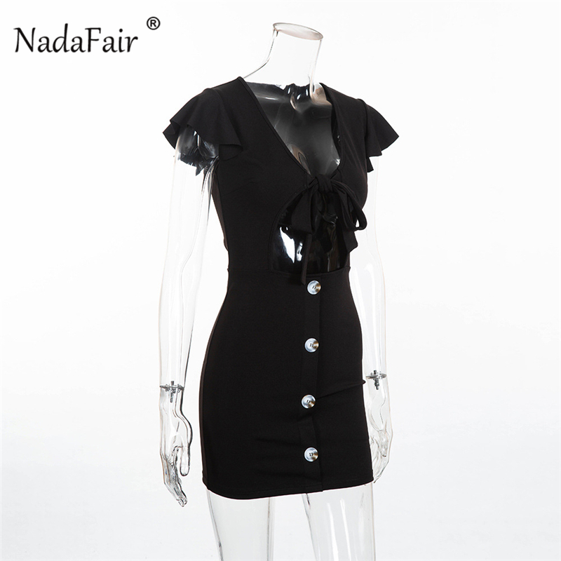 V neck hollow out lace up sexy dress11_