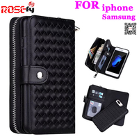 Zipper Removable Wallet Bag Woven Leather Case Cover For IPhone 7 6 6S Plus 5S Samsung