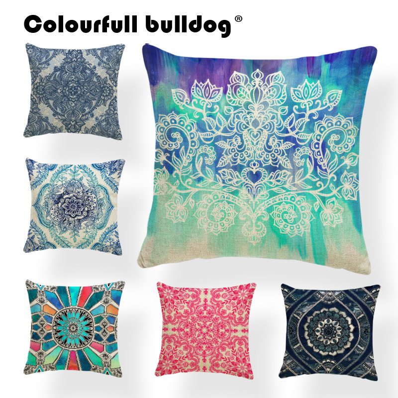 Mandala Flowers Cushion Indian Style Pillow Oil Printed Shopping Dog Lovers Gifts Red Throw Pillow Cases Buddhism 17.7Inch Linen