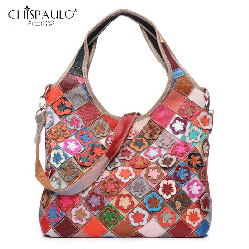 2018 New Genuine Leather Women Handbag Fashion Women Bag Diamond Flowers Shoulder bag Patchwork multi color Cow Leather Tote bag esufeir 2018 100% genuine leather women handbag cow leather multi shoulder bag casual colourful patchwork women bag tote kj055