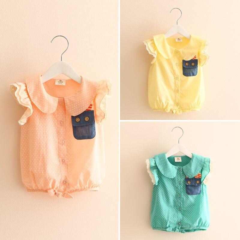 2016 Summer Rabbit Pocket Girls Clothing Baby Child Girl Short-Sleeve Shirt Yellow Green Pink