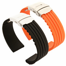 купить Rubber Watch Band Strap Straight End Bracelet Silicone Stainless Steel Double Click Folding Clasp 18 20 22 24mm +Tool Watchband по цене 116.58 рублей