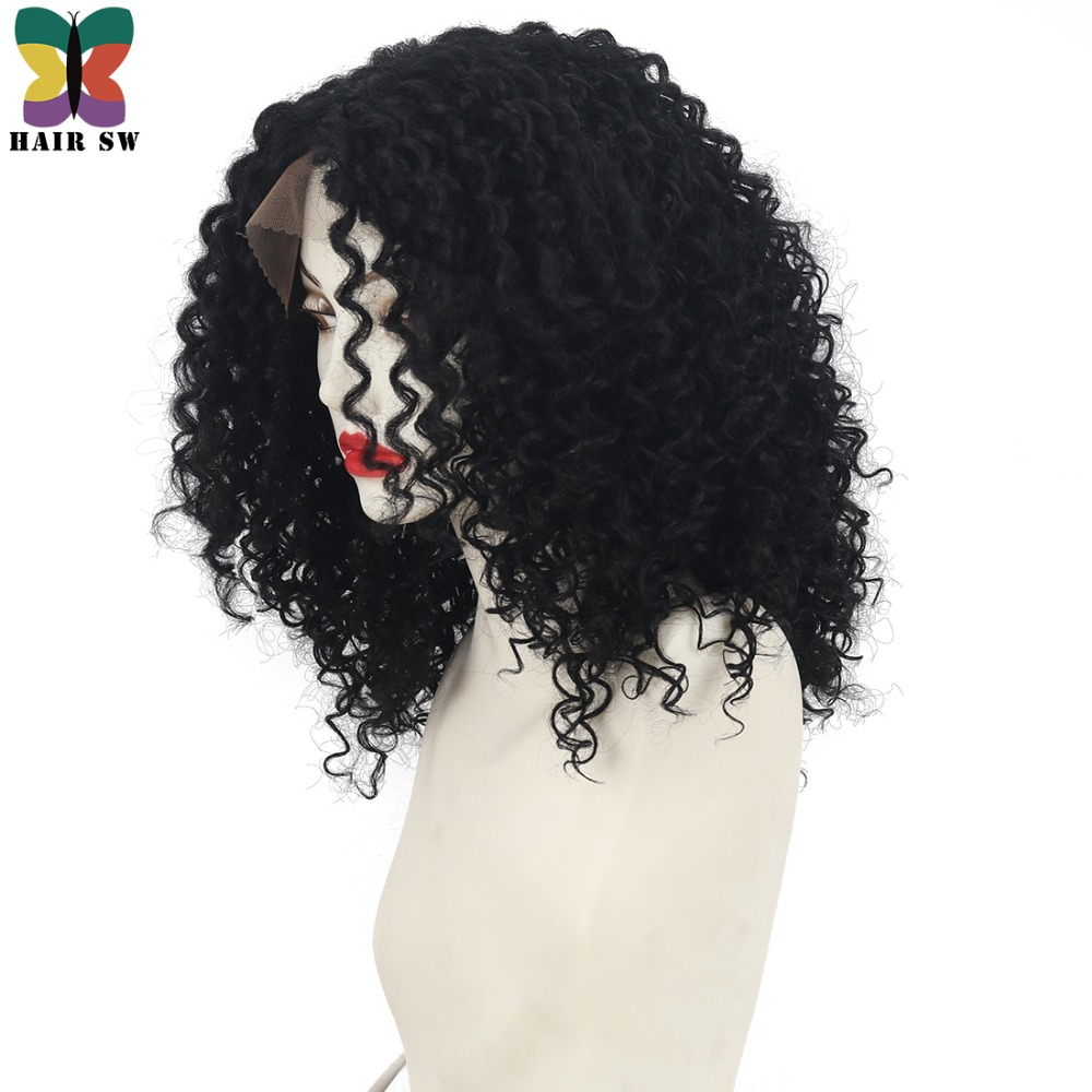 "HAIR SW Center Part Kinky Curly Medium Synthetic Hair Lace Front Cap African American Nature Black Wigs for Black Women 16"" 18"""