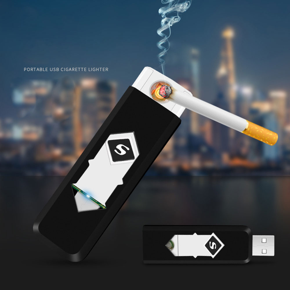 Creative Rechargeable USB Windproof Flameless Electric Electronic Charging Cigarette Lighter Smokeless Super Lighters Man X