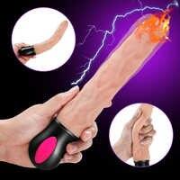 FLXUR 12 modo de calefacción realista vibrador Flexible de silicona suave pene G punto Vagina vibrador masturbador juguete sexual para mujeres
