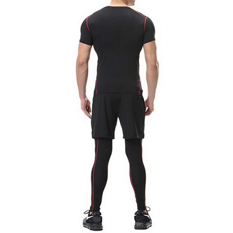 8662c4943b1ef2 ... Laamei High Elastic Fitness Leggings Men Compression Bodybuilding Tights  Male Quick Dry Skinny Pant Breathable Plus