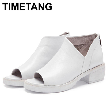 TIMETANG  Summer New Women's Wild Korean Version Of The British Fish Mouth Boots Summer Female Soil Mother With Cold Shoes Tide