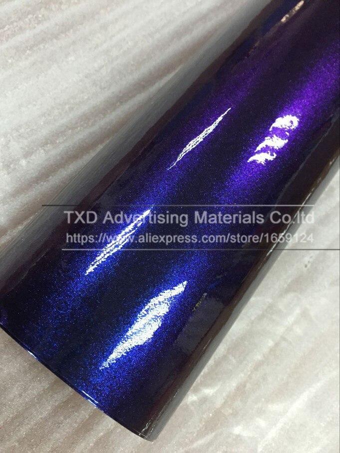 Темно-синий фиолетовый хамелеон Блестящий жемчужная виниловая оберточная пленка с пузырьками без воздуха Хамелеон блестящий фильм с 4 размерами