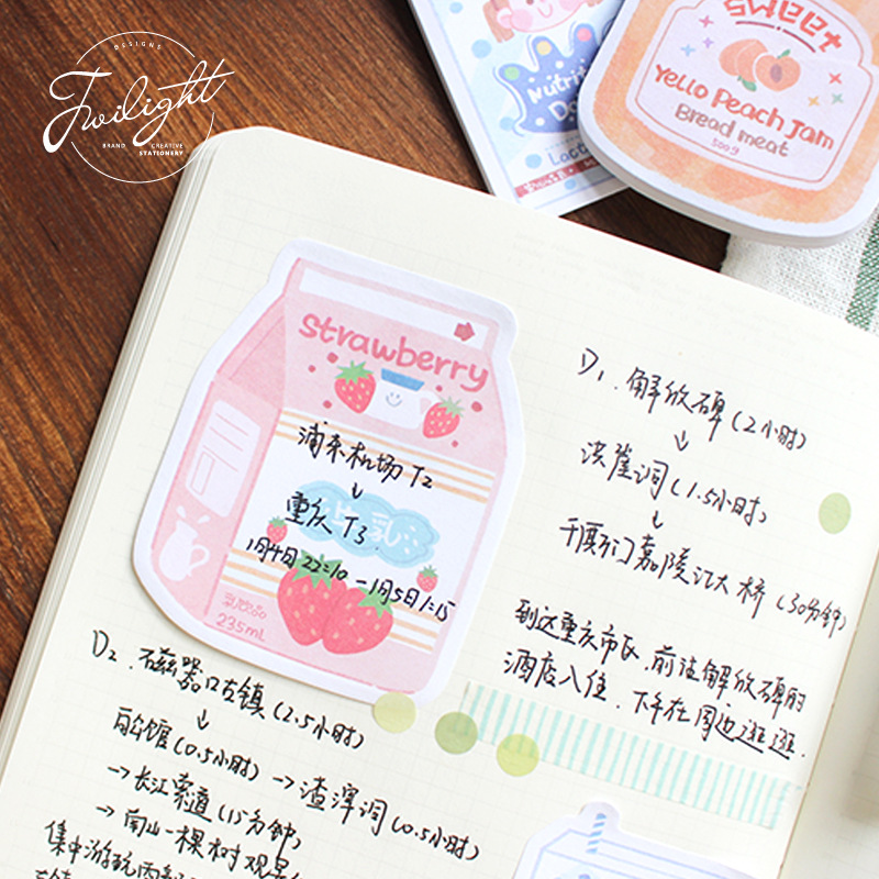 1set Memo Pads Sticky Notes Kawaii Steam Wave Travel Paper Notepad Diary Scrapbooking Stickers Office School Stationery Notepads