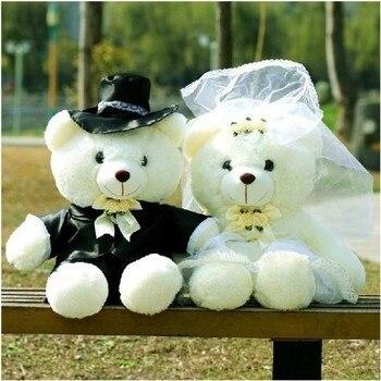 2pcs/pair 20/40cm Wedding Bear Couples Plush Toys Teddy Doll Gift Bride & Groom Christmas Gifts For Women Girl