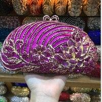 Luxury Silver green Crystal mini Purse Evening purple Clutch Bag Women Metal Box Minaudiere Wedding Party Dinner Diamond Handbag