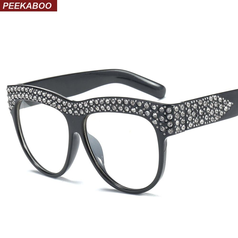 Peekaboo rhinestone gafas marco mujer claro lente negro blanco 2018 ...