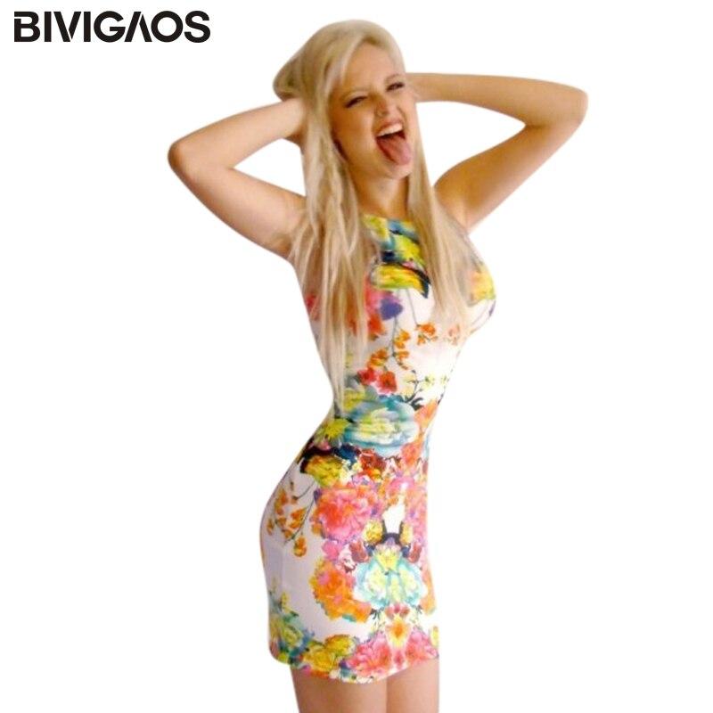 Bivigaos moda para mujer Primavera Verano gasa casual sexy mini vestido sin  mangas Delgado delgado vestido de la cintura mujeres d12c79aafdfa
