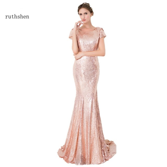 ruthshen 2018 Rose Gold Sequin Mermaid Bridesmaid Dresses Short Sleeves  Backless Long Vestidos De Madrinha Cheap 3333e16d4db8