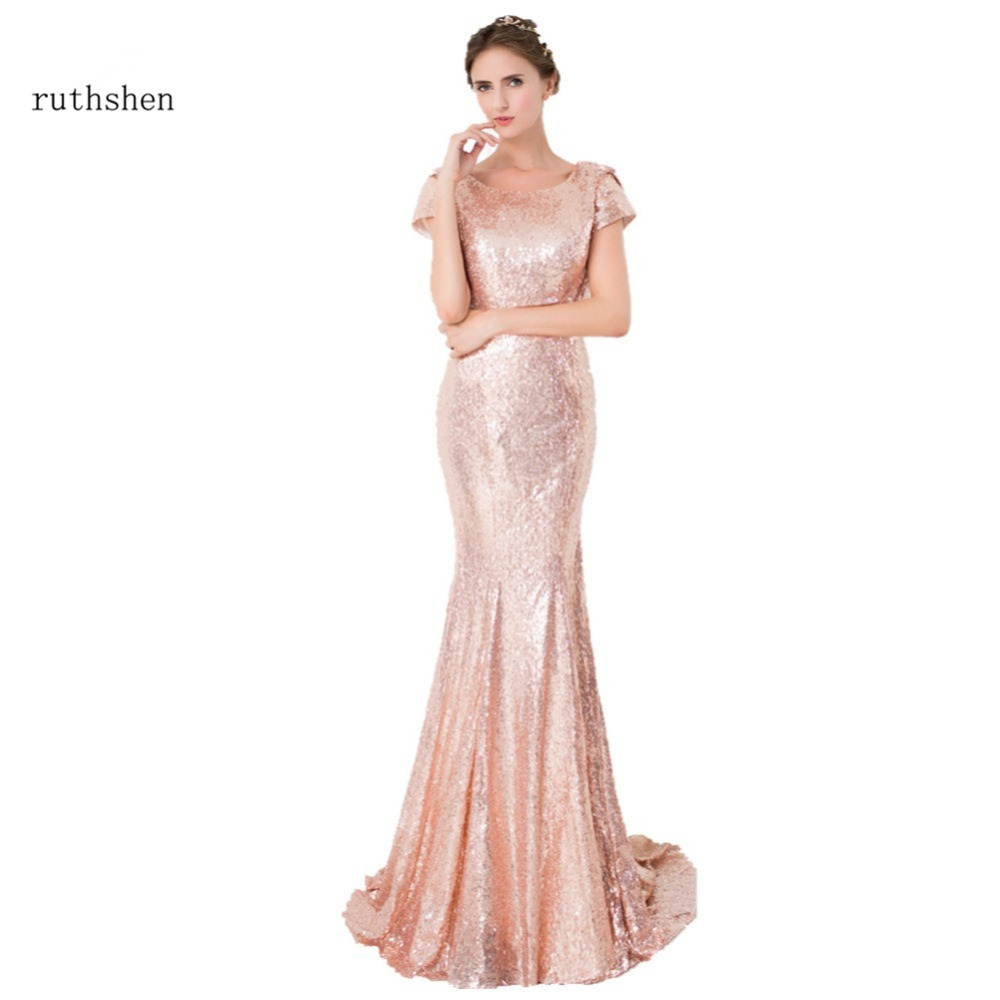 ruthshen 2018 Rose Gold Sequin Mermaid   Bridesmaid     Dresses   Short Sleeves Backless Long Vestidos De Madrinha Cheap