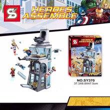 563Pcs SY370 Attack on Avenger Tower Marvel Iron Man Thor Super Hero Set Building Blocks Compatible Legoe Bricks Minifigures Toy