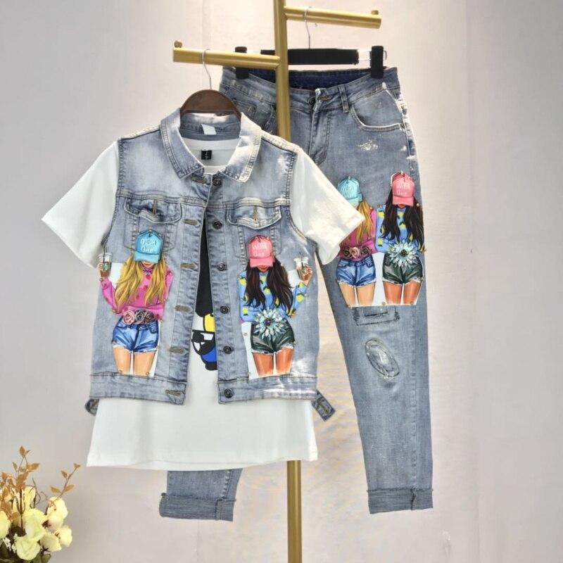 ストレッチデニム女性はジーンズクール穴パターン 2019 花ビーズスキニーレトロデニムパンツ鉛筆のズボンファムサイズ 30  グループ上の レディース衣服 からの ジーンズ の中 2