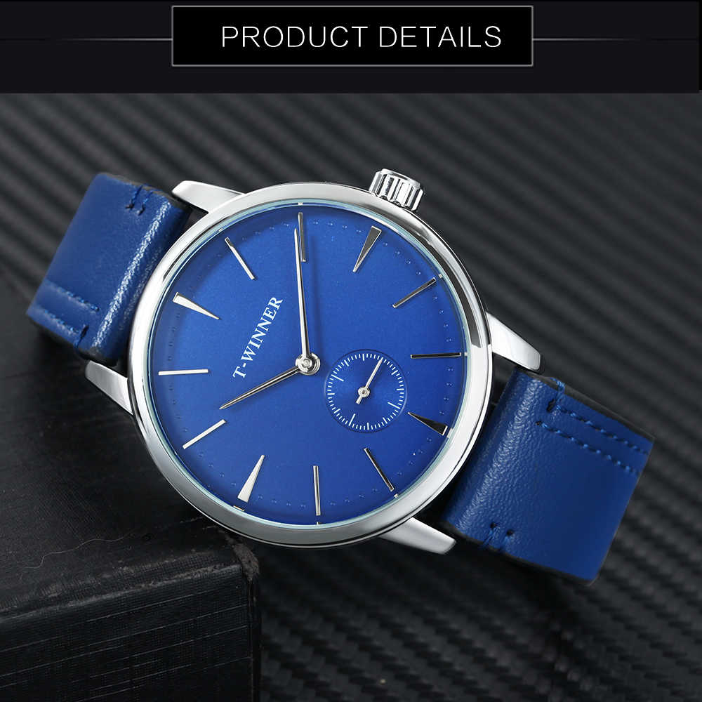 a02f684c95e ... WINNER Fashion Minimalist Blue Mechanical Watch Men Genuine Leather  Strap Casual Ultra Thin Mens Watches Top ...