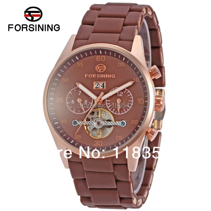 Forsining new Automatic men  fashion tourbillon metal  wristwatch with deep brown band free shipping provoc gel lip liner 206 sensational цвет сливовый