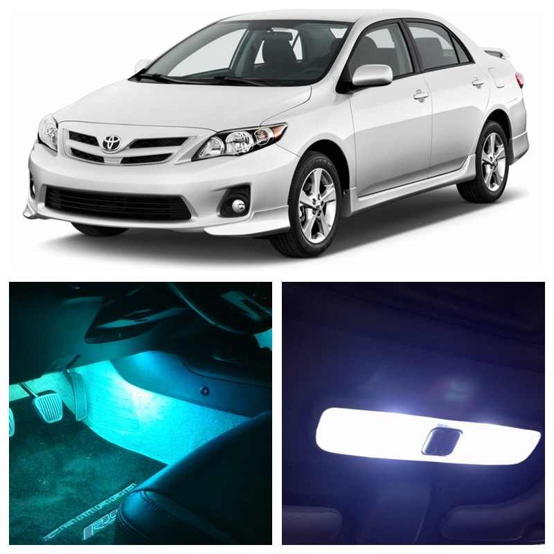 9Pcs Ice Blue White LED Lights Interior Package Kit For Toyota Corolla 2012-2015 Map Dome License Plate Light Toyota-EF-07 10pcs xenon white car interior led bulbs package kit for 2006 2012 toyota rav4 map dome license plate light toyota b 10