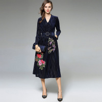 Heavy Embroidery Women Dress High End Fashion Celebrity Inspired Dresses Long Sleeve Autumn Robe Belted Vintage Style Vestidos