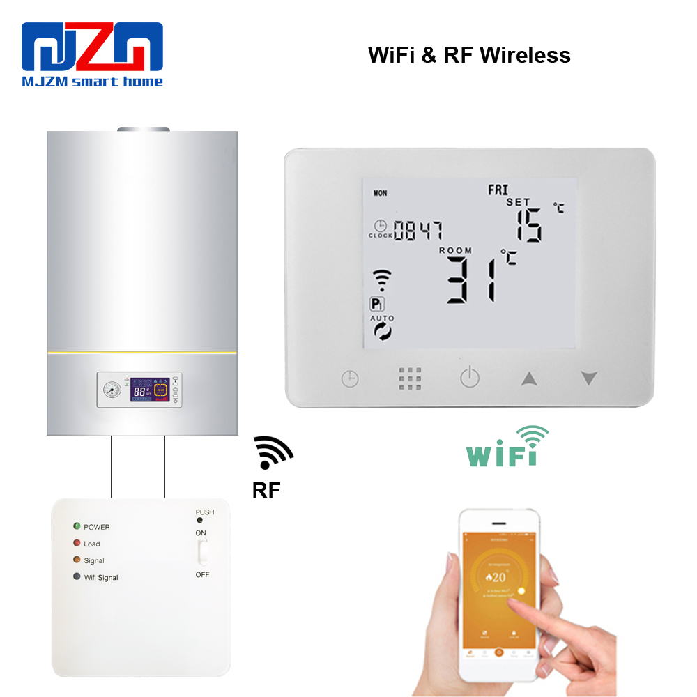 MJZM BGL09RF WiFi RF Wireless Thermostat Wall hung Gas Boiler Heating Remote Control Temperature Controller Batteries