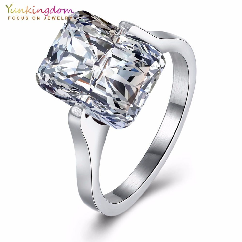 Yunkingdom Classic Long Square Fashion Wedding Rings For Women Clear Cz  Jewelry Ring Wholesale K5077(