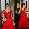 Appliqued Backless Lace Formal Occasion Dress Regular Long Sleeves V-Neck A-Line Women Vestidos 2016 Red Celebrity Dress 2463