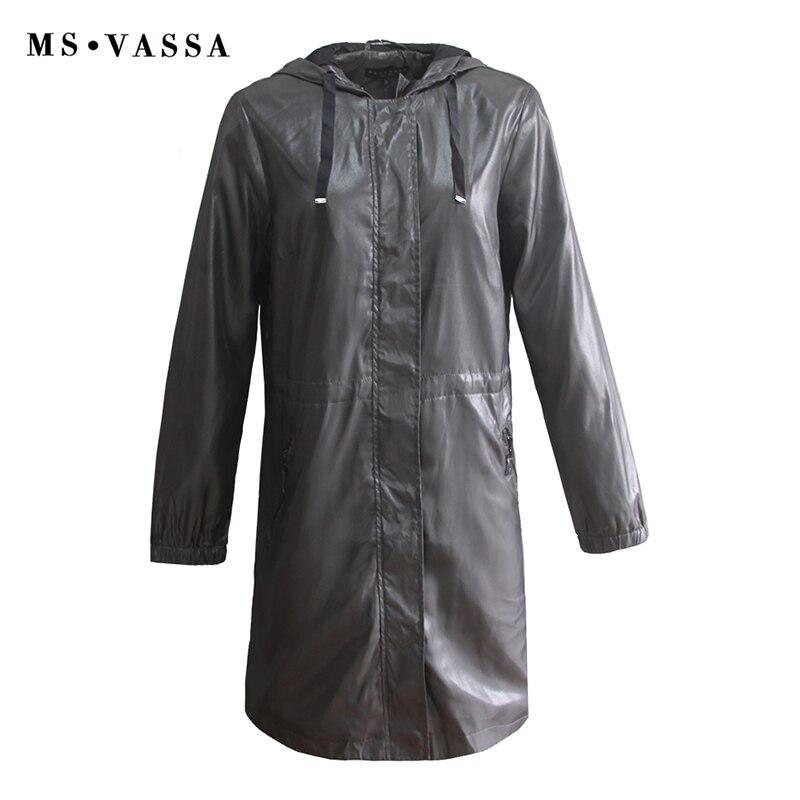 MS VASSA Trench plus size Women 2019 Autumn Spring New Fashion Coats with hood Ladies Windbreaker