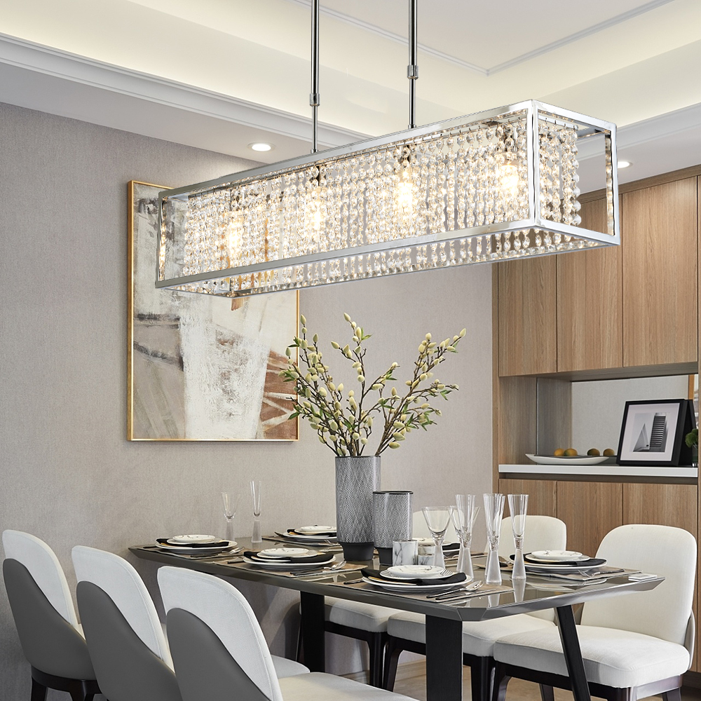 US $459.2 18% OFF|Rectangle modern crystal chandelier lighting for living  room ding room kitchen island lamp chrome crystal hanging light fixtures-in  ...