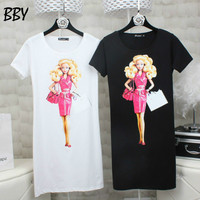 Plus Size Summer Women Tops 2017 Fashion Slim T Shirt Cartoon Barbie Print Cotton Long T