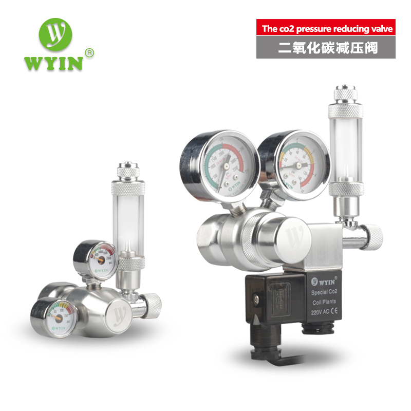 WYIN Aquarium CO2 Regler mit Überprüfen Ventil Blase Zähler magneticSolenoidValveAquarium kohlendioxid druck-reduzierung ventil