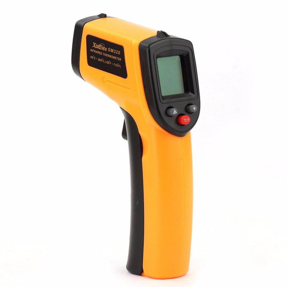 Temperatura pistola láser-50 ~ 380 grados GM320 LCD Digital de infrarrojos termómetro medidor de punta de pistola no termómetro de contacto