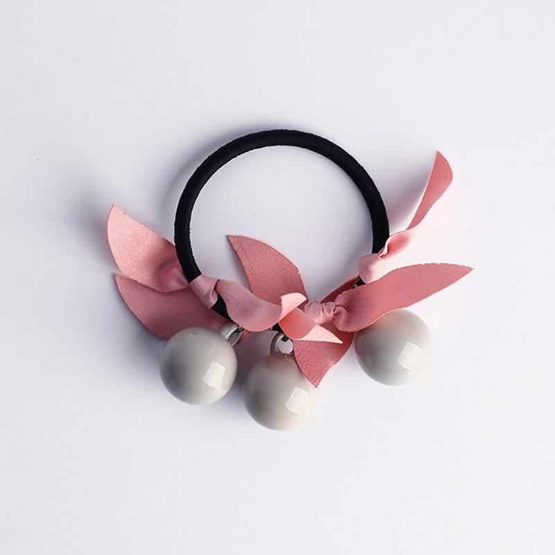 Купить с кэшбэком Fashion 1pc Women Girls Three Candy ColorsCharming Hair Rope Acrylic Beads Sweet Hair Bands Accessories